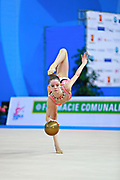 """Bevilacqua Sofia during ball routine at the International Tournament of rhythmic gymnastics """"Città di Pesaro"""", 02 April, 2016. Sofia is an Italian individualistic gymnast, born on March 02, 2002 in Fano.<br /> This tournament dedicated to the youngest athletes is at the same time of the World Cup."""