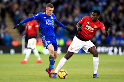 Leicester City's Jamie Vardy (left) and Manchester United's Paul Pogba battle for the ball during the Premier League match at the King Power Stadium, Leicester.