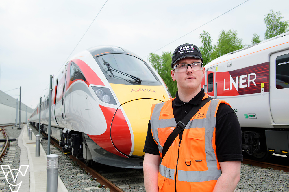 Hitachi maintenance technician Corey Martin, who is based at their Doncaster Train Maintenance Centre, has spent two weeks sharing his skills with colleagues at the Bounds Green depot in London. Mr Martin was demonstrating what needs to be done to maintain a new LNER Azuma train, which has not been at the Bounds Green depot previously. <br /> <br /> Date: May 1, 2019