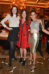 Left to right, CAT MULLEN, TARA SMITH and LILY HODGES at the Cash & Rocket Tour Announcement Launch Lunch in association with McArthur Glen was held at The Grill, The Dorchester, Park Lane, London on 12th March 2015.