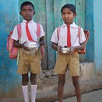 Boys on their way to school in Adgaon Budruk village...Photo: Tom Pietrasik.January 2011.Maharashtra, India