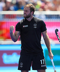 New Zealand's Nic Woods celebrates his sides second goal during the Men's Pool A hockey match against Canada at the Gold Coast Hockey Centre during day two of the 2018 Commonwealth Games in the Gold Coast, Australia.