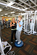 Trainer Deb Allan, left, works with Judy Chatfield at Delta Valley Athletic Club in Brentwood on Monday, June 11, 2012. (Photo by Kevin Bartram)