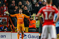 Accrington Stanley goalkeeper Jonathan Maxted (1) receives a red card and is sent off during the EFL Sky Bet League 1 match between Charlton Athletic and Accrington Stanley at The Valley, London, England on 19 January 2019.
