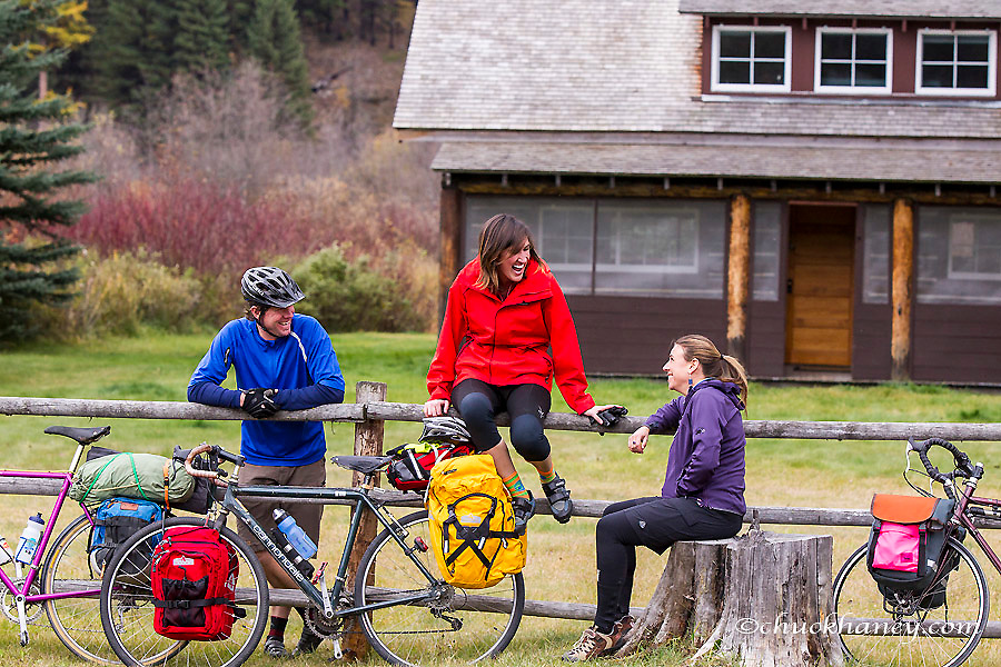 Having a good time while bike touring in the Kootenai National Forest, Montana, USA model released
