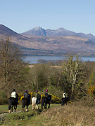 Horses trekking in Killarney National Park,  Killarney, Kerry, ireland.<br /> PHOTO: Don MacMonagle<br /> macmonagle.com