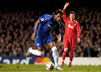 Photo: Leigh Quinnell.<br /> Chelsea v Liverpool. UEFA Champions League. <br /> 06/12/2005. Liverpools Steve Finnan appeals that Chelseas Didier Drogba is off side.