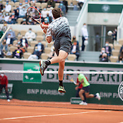 PARIS, FRANCE June 5.  Cameron Norrie of Great Britain in action against Rafael Nadal of Spain on Court Suzanne Lenglen during the third round of the singles competition at the 2021 French Open Tennis Tournament at Roland Garros on June 5th 2021 in Paris, France. (Photo by Tim Clayton/Corbis via Getty Images)