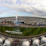 A general view of the infield with fireworks during the opening ceremony of the Alert Today Florida 300 XFinity Series race at Daytona International Speedway on Saturday, February 21, 2015 in Daytona Beach, Florida.  (AP Photo/Alex Menendez)