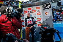 01.01.2020, Olympiaschanze, Garmisch Partenkirchen, GER, FIS Weltcup Skisprung, Vierschanzentournee, Garmisch Partenkirchen, im Bild Karl Geiger belegt beim zweiten Springen der, Vierschanzen Tournee 19, 20 in Garmisch den 2. Platz und freut sich riesig - als führender Springer wartet er auf die Konkurrenten // during the Four Hills Tournament of FIS Ski Jumping World Cup at the Olympiaschanze in Garmisch Partenkirchen, Germany on 2020/01/01. EXPA Pictures © 2019, PhotoCredit: EXPA/ SM<br /> <br /> *****ATTENTION - OUT of GER*****