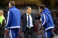 West Ham United manager Slaven Bilic celebrates after the final whistle. Barclays Premier League, West Ham Utd v Chelsea at The Boleyn Ground, Upton Park in London on Saturday 24th October 2015.<br /> pic by John Patrick Fletcher, Andrew Orchard sports photography.