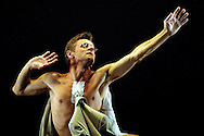 Mikhail Baryshnikov on stage during rehearsals at the Playouse Theatre, Edinburgh where as artistic director and dancer of the PASTForward and the White Oak Dance Project which he was presenting as a programme of innovative modern dance entitled The Influence of the Postmoderns. The photograph is from a piece entitled 'Flat'. The performances formed part of the Edinburgh International Festival, the world's largest arts festival.
