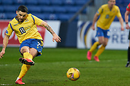 Craig Conway scores from penalty during the Scottish Premiership match between Ross County FC and St Johnstone FC at the Global Energy Stadium, Dingwall, Scotland on 2 January 2021