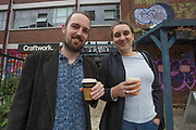 People appear to return to drinks in Hackney Wick, East London on Saturday, July 4, 2020. England lifts its Covid-19 Lockdown Measures with Pubs reopening today welcoming back customers for the first time in more than three months. (VXP Photo/ Marcin Nowak)