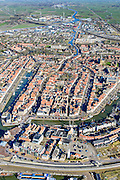 Nederland, Friesland, Harlingen, 28-02-2016; overzicht Harlingen met Havenplein, Noorderhaven en Zuiderhaven.<br /> Overview Harlingen harbor.<br /> luchtfoto (toeslag op standard tarieven);<br /> aerial photo (additional fee required);<br /> copyright foto/photo Siebe Swart