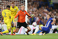 Goalkeeper Steve Mildenhall of Bristol Rovers saves  a shot from John Terry of Chelsea. EFL Cup 2nd round match, Chelsea v Bristol Rovers at Stamford Bridge in London on Tuesday 23rd August 2016.<br /> pic by John Patrick Fletcher, Andrew Orchard sports photography.