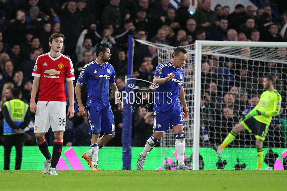Chelsea's Diego Costa and Chelsea's John Terry after the equalising goal during the Barclays Premier League match between Chelsea and Manchester United at Stamford Bridge, London, England on 7 February 2016. Photo by Phil Duncan.