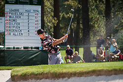 July 15, 2018 - Stateline, Nevada, U.S - Former Bachelor (Season 20), BEN HIGGINS, chips out of a sand trap at the 17th hole during the 29th annual American Century Championship at the Edgewood Tahoe Golf Course at Lake Tahoe, Stateline, Nevada, on Sunday, July 15, 2018. (Credit Image: © Tracy Barbutes via ZUMA Wire)