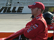 Dale Earnhardt, Jr. watching and waiting during qualifying for the Goody's Cool Orange 500 at Martinsville Speedway