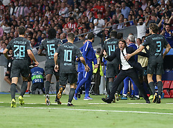 September 27, 2017 - Madrid, Spain - Antonio Conte, Manager of Chelsea speaks with Hazard of Chelsea following victory after the UEFA Champions League group C match between Atletico Madrid and Chelsea FC at Estadio Wanda Metropolitano on September 27, 2017 in Madrid, Spain. (Credit Image: © Ahmad Mora/NurPhoto via ZUMA Press)