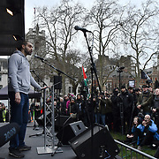 Lowkey speaks at the Protest against Julian Assange Extradition Free speech is not a Crimes, on 22th Feb 2020  in London, UK