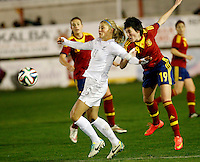 Fifa Womans World Cup Canada 2015 - Preview //  Friendly Match -<br /> Spain vs New Zealand 0-0  ( Municipal Stadium - La Roda , Spain ) <br /> Rosie White of New Zealand (left) challenges with Erika Vazquez of spain (Right)