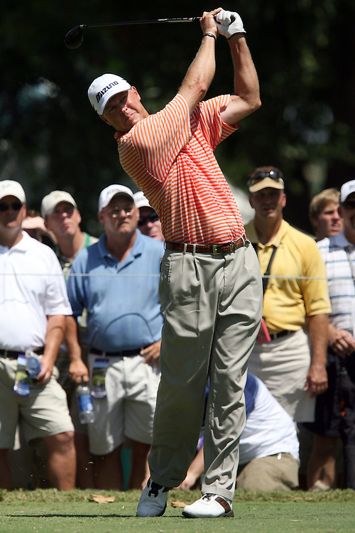 09 August 2007: Bob Tway tees off on the 4th hole during the first round of the 89th PGA Championship at Southern Hills Country Club in Tulsa, OK.