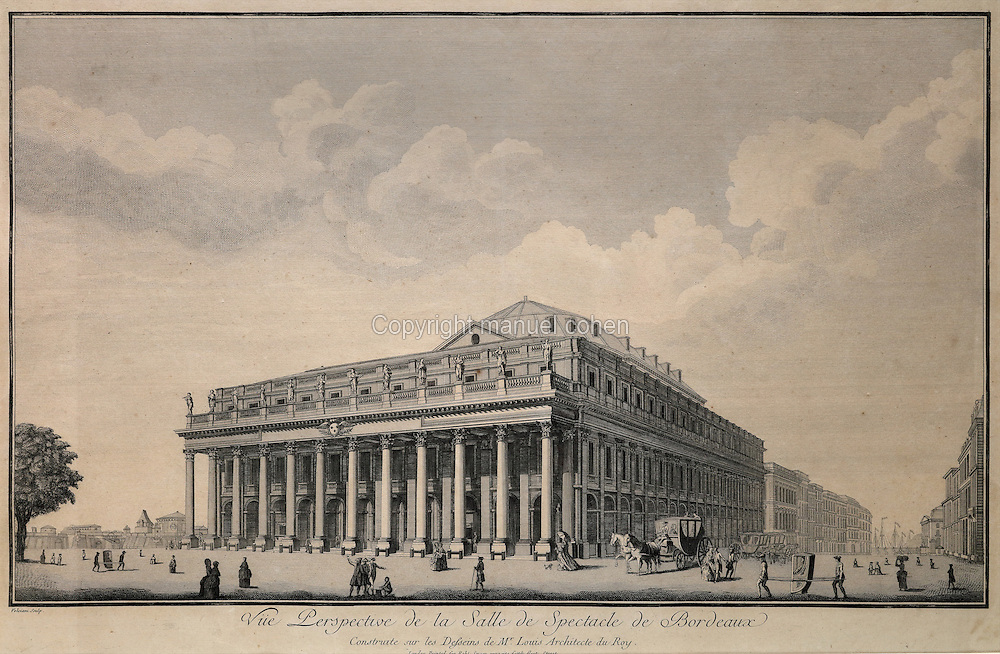 Perspective view of the Grand Theatre de Bordeaux, designed by Victor Louis, 1731–1800, and inaugurated in 1780, in the Musee d'Aquitaine, Cours Pasteur, Bordeaux, Aquitaine, France. The building is neoclassical in style, with a portico of 12 Corinthian columns and an entablature with 12 statues representing 9 muses and 3 goddesses (Juno, Venus and Minerva), carved by Pierre-Francois Berruer and his assistant Van den Drix. Picture by Manuel Cohen