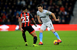 West Ham United's Aaron Cresswell (right) and Bournemouth's Nathaniel Clyne in action during the Premier League match at The Vitality Stadium, Bournemouth.
