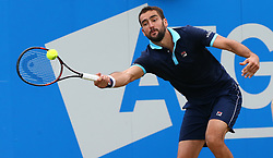 June 24, 2017 - London, United Kingdom - Marin Cilic CRO against Gilles Muller LUX during Men's Singles Semi Final match on the day  six of the ATP Aegon Championships at the Queen's Club in west London on June 24, 2017  (Credit Image: © Kieran Galvin/NurPhoto via ZUMA Press)