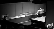 Peter Ebdon of England is beaten 5 frames to nil by Barry Hawkins . Welsh open snooker 2010 at the Newport Centre, Newport, South Wales, day 1 on Mon 25th Jan 2010.   pic by  Andrew Orchard  , Andrew Orchard sports photography,   NOTE : This image has been converted to black and white.