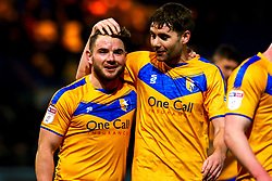 Joe Riley celebrates with Alex MacDonald of Mansfield Town - Mandatory by-line: Ryan Crockett/JMP - 25/01/2020 - FOOTBALL - One Call Stadium - Mansfield, England - Mansfield Town v Bradford City - Sky Bet League Two