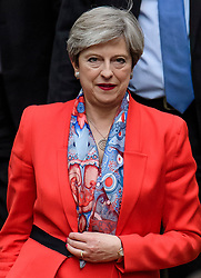 © Licensed to London News Pictures. 09/06/2017. London, UK. Leader of the conservative party THERESA MAY is seen leaving Conservative Party headquarters on the morning of the general election results. Photo credit: Ben Cawthra/LNP
