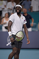 March 25, 2019 - Miami Gardens, Florida, United States Of America - MIAMI GARDENS, FLORIDA - MARCH 25: Frances Tiafoe defeats David Ferrer of Spain during day 8 of the Miami Open presented by Itau at Hard Rock Stadium on March 25, 2019 in Miami Gardens, Florida. ..People: Frances Tiafoe. (Credit Image: © SMG via ZUMA Wire)