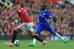 16th April 2017 - Premier League - Manchester United v Chelsea - Ngolo Kante of Chelsea battles with Marcos Rojo of Man Utd - Photo: Simon Stacpoole / Offside.