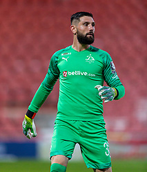 WREXHAM, WALES - Thursday, September 17, 2020: FC Dinamo Tbilisi's goalkeeper Roin Kvaskhvadze during the UEFA Europa League Second Qualifying Round match between Connah's Quay Nomads FC and FC Dinamo Tbilisi at the Racecourse Ground. Dinamo Tiblisi won 1-0. (Pic by David Rawcliffe/Propaganda)