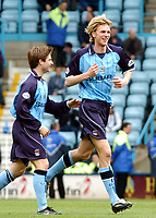 Fotball<br /> Picture: Henry Browne, Digitalsport.<br /> Date: 10/04/2004.<br /> Coventry City v Millwall Nationwide Division One.<br /> <br /> Calum Davenport celebrates after scoring Cov's second goal.<br /> NORWAY ONLY