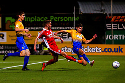 Andy Dales of Scunthorpe United shoots at goal - Mandatory by-line: Ryan Crockett/JMP - 13/11/2018 - FOOTBALL - One Call Stadium - Mansfield, England - Mansfield Town v Scunthorpe United - Checkatrade Trophy