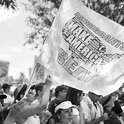 Protestors in Los Angeles take to the streets for the national Families Belong Together demonstration. Over 70,000 people took to downtown Los Angeles to protest against President Trump's immigration policies, in particular the policy to separate children from their parents at the border. Demonstrators also called to abolish the Immigration and Customs Enforcement (ICE) agency which is responsible for detaining and deporting immigrants. ALSO AVAILABLE IN COLOR