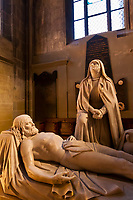 Sculpture of Holy Mary standing above her dead son Jesus, Interior view, Munster (Cathedral of Bern), Bern, Canton Bern, Switzerland