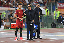 August 26, 2017 - Rome, Italy - Head coach of A.S. Roma, Eusebio Di Francesco and Stephan El Shaarawy during the Italian Serie A football match between A.S. Roma and F.C. Inter at the Olympic Stadium in Rome, on august 26, 2017. (Credit Image: © Silvia Lore/NurPhoto via ZUMA Press)