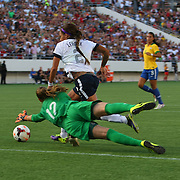 U.S. forward Sydney Leroux (2) scores her second goal of the game past Brazil goalkeeper Luciana (12) during a women's soccer International friendly match between Brazil and the United States National Team, at the Florida Citrus Bowl  on Sunday, November 10, 2013 in Orlando, Florida. (AP Photo/Alex Menendez)