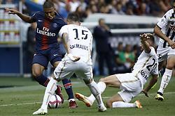 August 25, 2018 - Paris, France - Kylian Mbappe during the French L1 football match Paris Saint-Germain (PSG) vs Angers (SCO), on August 25, 2018 at the Parc des Princes in Paris. (Credit Image: © Mehdi Taamallah/NurPhoto via ZUMA Press)