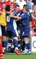 Photo: Dave Linney.<br />Wrexham v Swindon Town. Coca Cola League 2. 09/09/2006Swindon's .Paul Evans(C) celebrates after making it 1-0