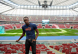 20.08.2014, National Stadion, Warschau, POL, Pressekonferenz, Usain Bold, im Bild Usain Bold (JAM) // Usain Bold of Jamaica // during a press conference in memorial Kamila Skolimowska at the National Stadion in Warschau, Poland on 2014/08/20. EXPA Pictures © 2014, PhotoCredit: EXPA/ Newspix/ RAFAL OLEKSIEWICZ<br /> <br /> *****ATTENTION - for AUT, SLO, CRO, SRB, BIH, MAZ, TUR, SUI, SWE only*****