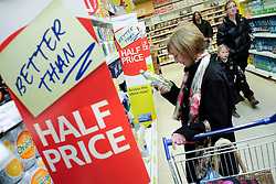 © London News Pictures. 15_02_2011. FILE PICTURE. The UK Consumer Prices Index (CPI) annual inflation rate rose to 4% in January, up from 3.7% in December, as the effects of the VAT rise were felt. Higher oil prices also meant inflation remained well above the 2% target. Retail Prices Index (RPI) inflation - which includes mortgage interest payments - rose to 5.1% from 4.8%.Picture credit should read Grant Falvey/London News Pictures...