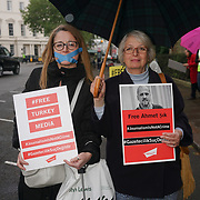 London,England,UK. 3rd May 2017. Amnesty International  and English Pen gather outside London's Turkish Embassy on World Press Freedom Day to call for release of journalists jailed in Turkey. by See Li