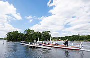 Henley on Thames, England, United Kingdom, 3rd July 2019, Berks Station, St Pauls School, Concord, USA, moving away from the start of their heat in the [PE], Princess Elizabeth Challenge Trophy, Henley Royal Regatta, Henley Reach, [© Peter SPURRIER/Intersport Image]<br /><br /><br />12:35:16 1919 - 2019, Royal Henley Peace Regatta Centenary,