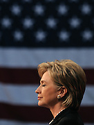 DISTRICT OF COLUMBIA - June 7:  U.S. Senator Hillary Clinton announces the end of her presidential bid for the White House and her endorsement support of presumptive democratic nominee for president, Sen. Barack Obama on Saturday at the National Building Museum in Washington, DC.