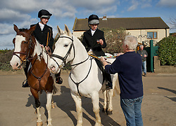 © Licensed to London News Pictures. 10/03/2012..Cleveland, England..Riders taking part in the Cleveland Hunt enjoy the traditional toast as they prepare to leave Thrushwood Farm on Teesside at the start of the hunt...Photo credit : Ian Forsyth/LNP